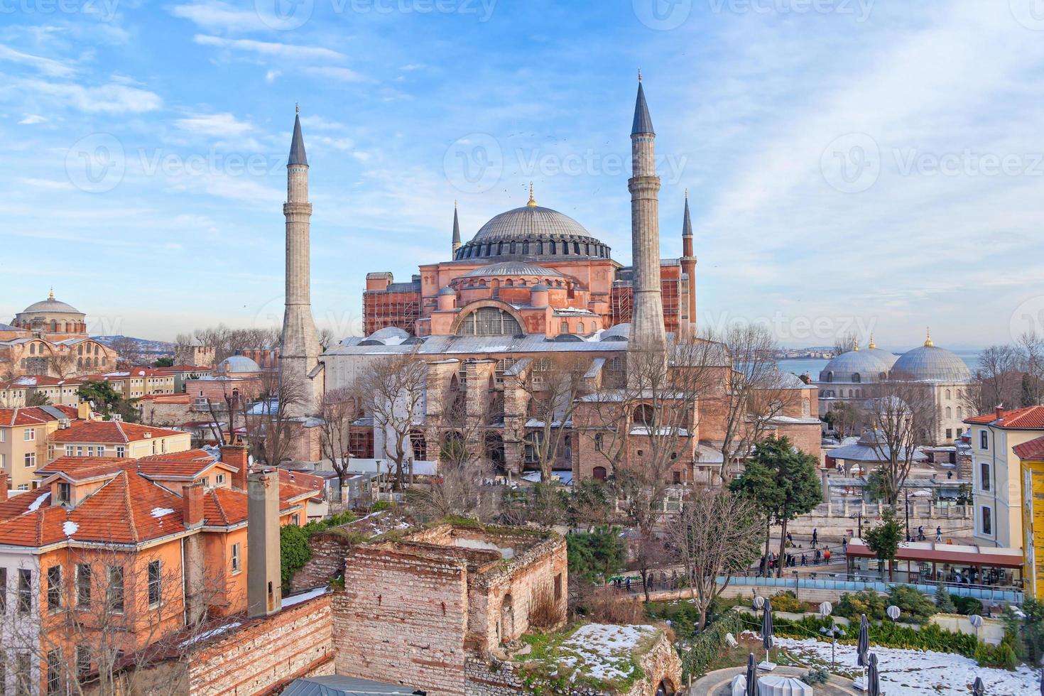 Hagia Sophia in winter evening photo