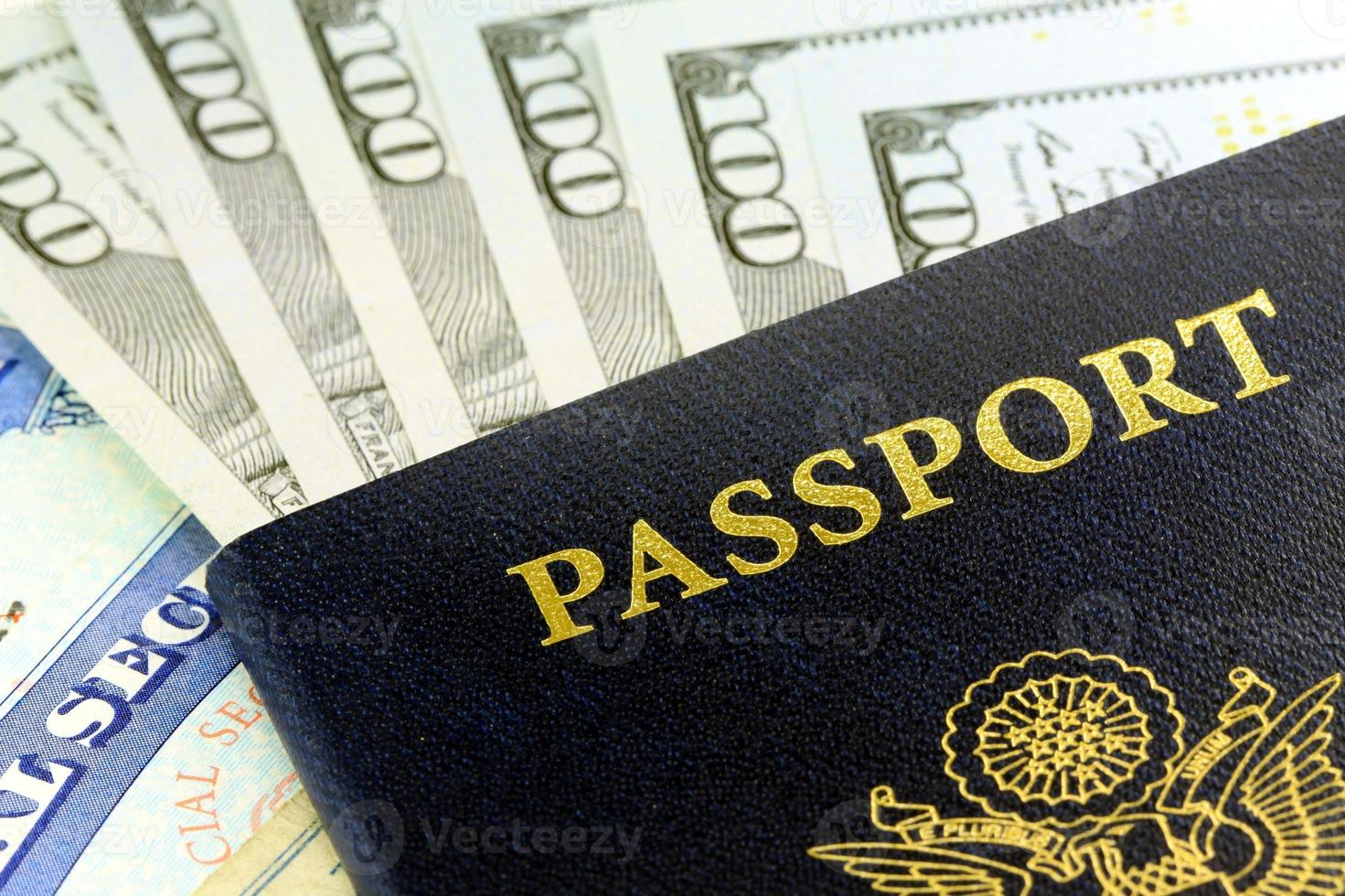 Travel Documents - USA Passport with American Currency photo
