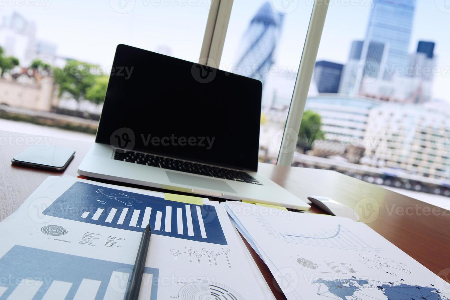 business documents on office table with pen photo