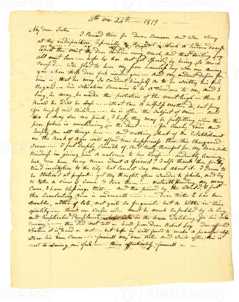 Carta personal manuscrita temprana de 1819. foto