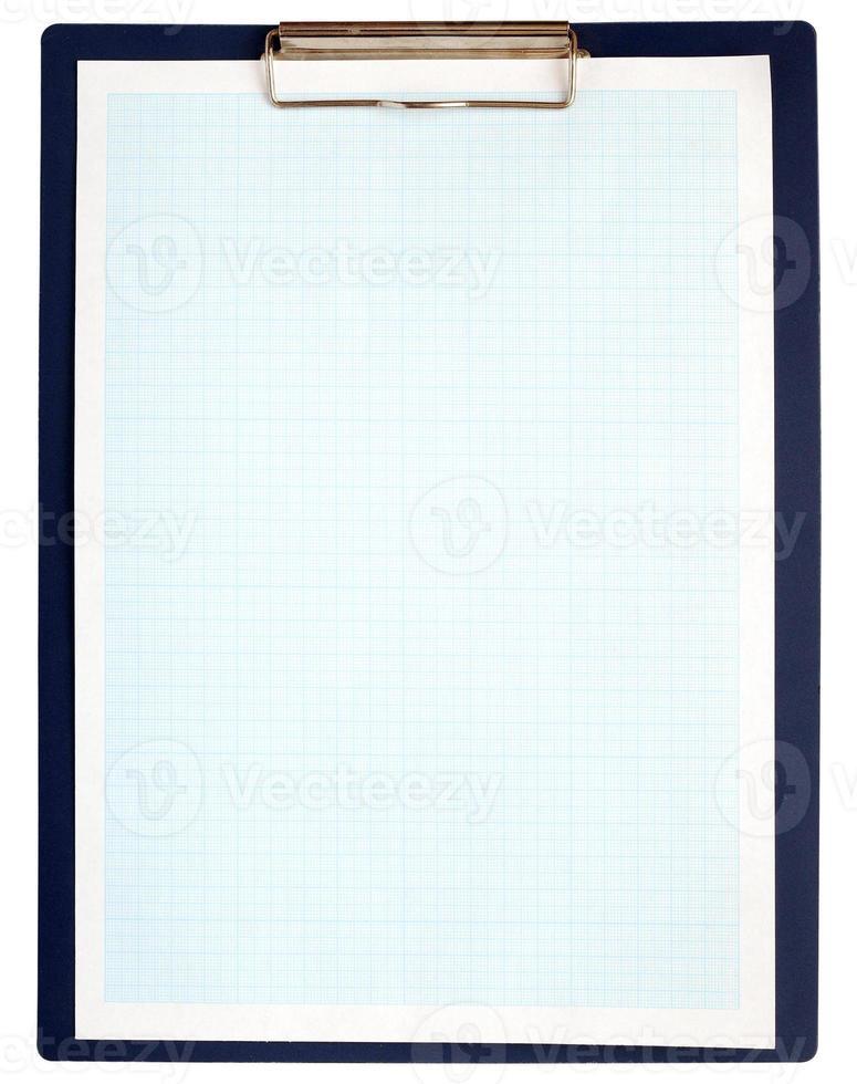 Portapapeles completo con papel cuadriculado azul sobre blanco foto