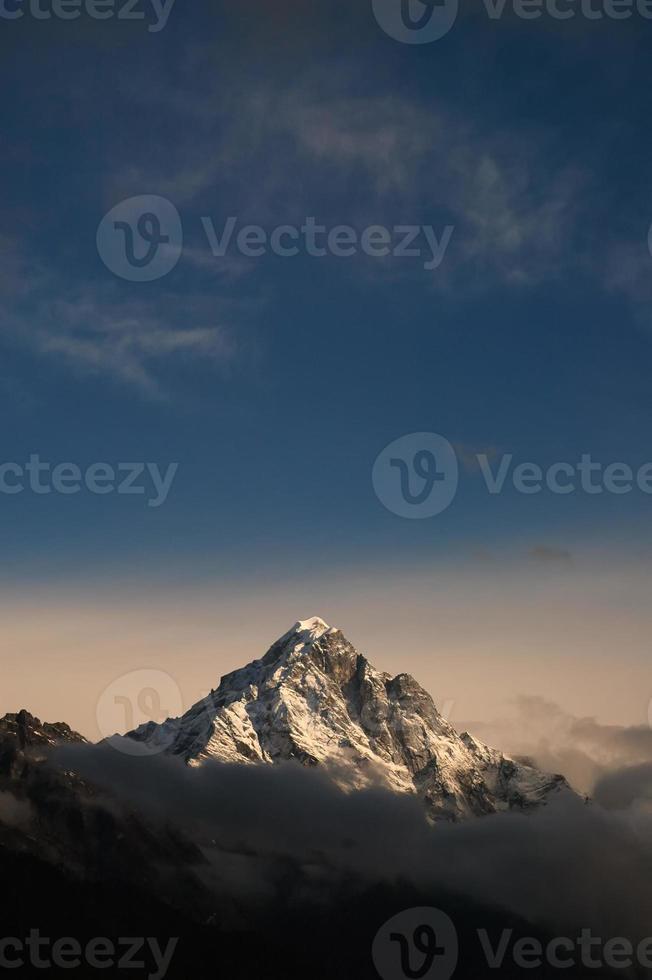 Mountain summit. Everest base camp trek. Nepal Himalayas. photo