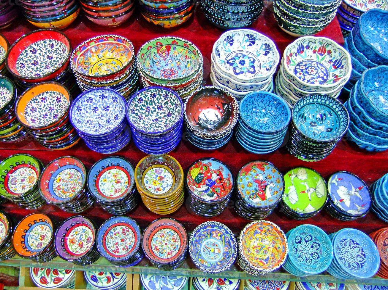 Display of colorful pottery, Istanbul, Turkey photo