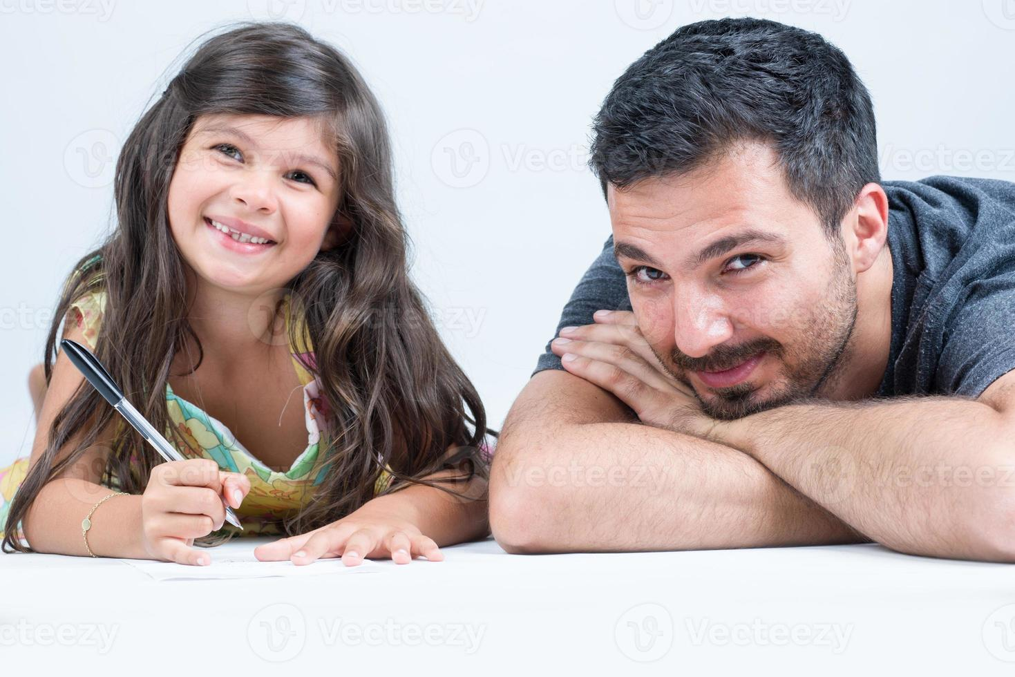Daughter and dad having fun together photo