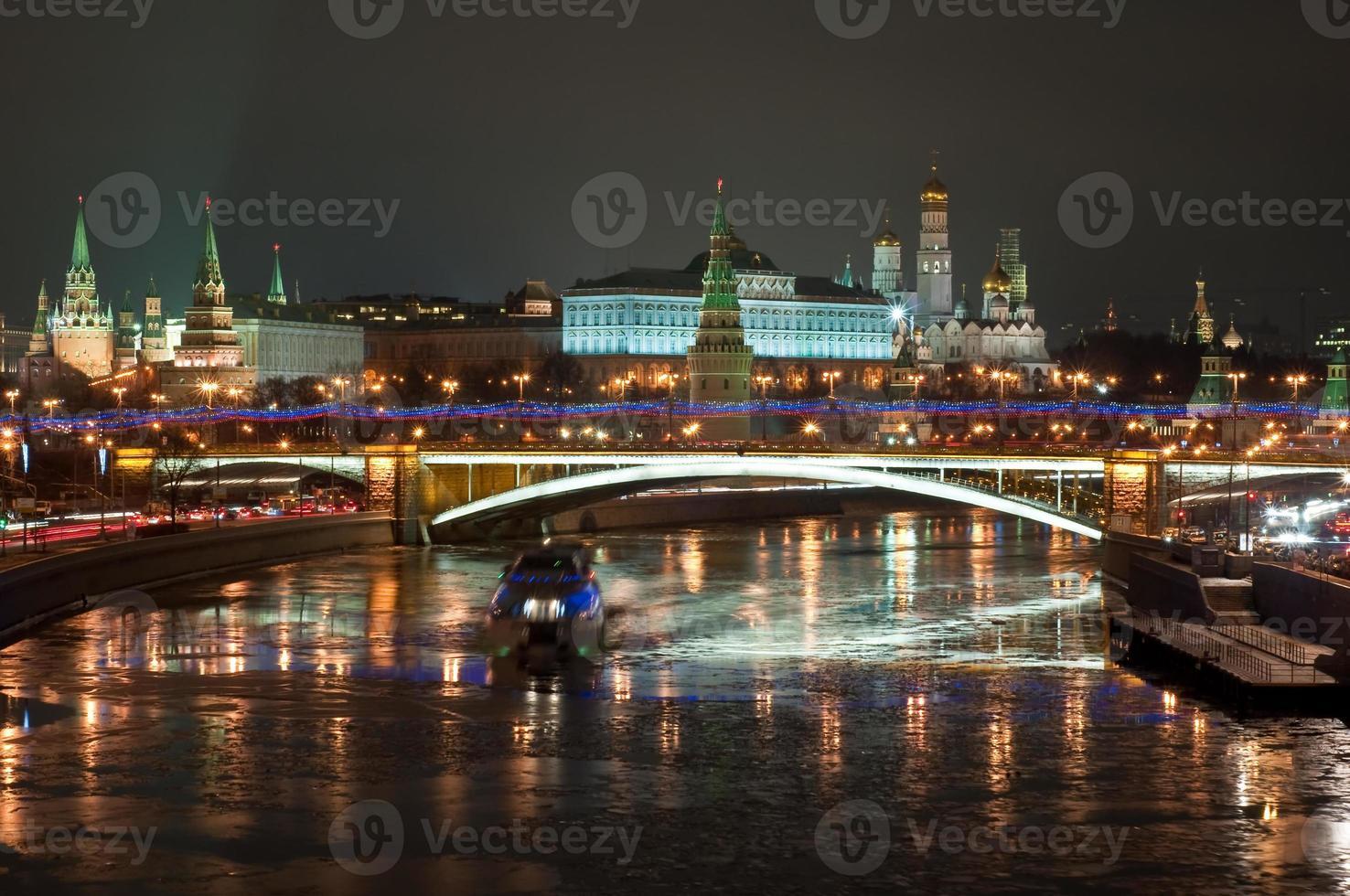 The Moscow Kremlin at night. photo