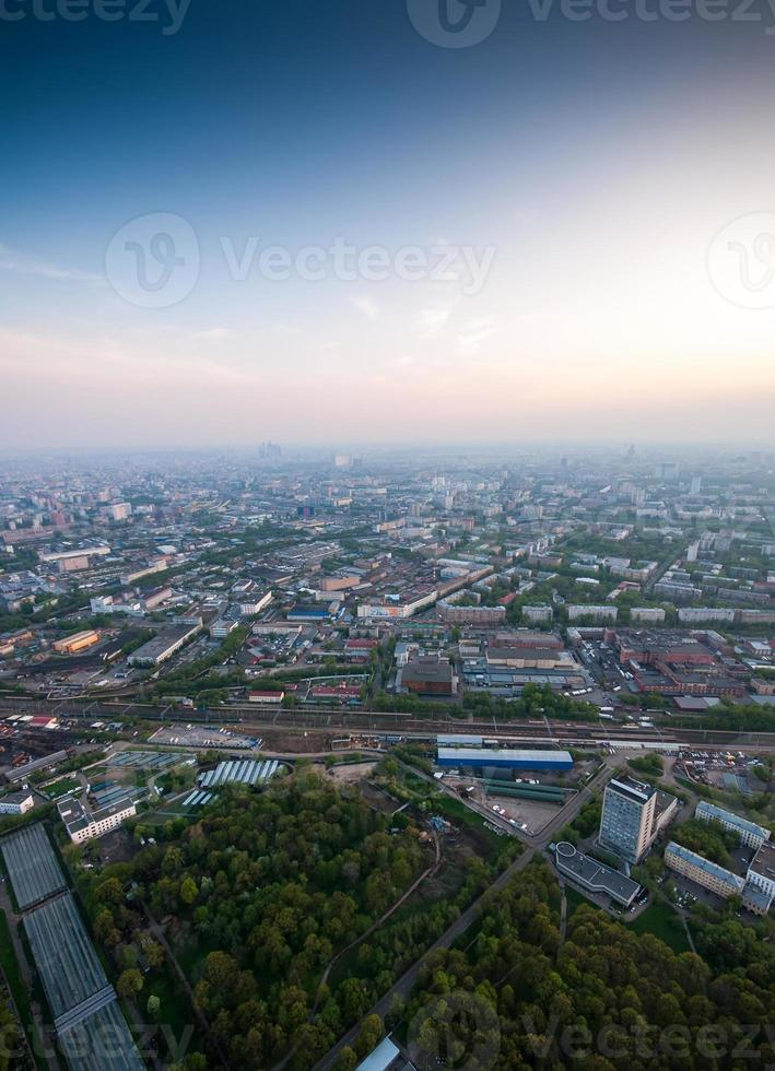 Bird's eye view of Moscow at dawn photo