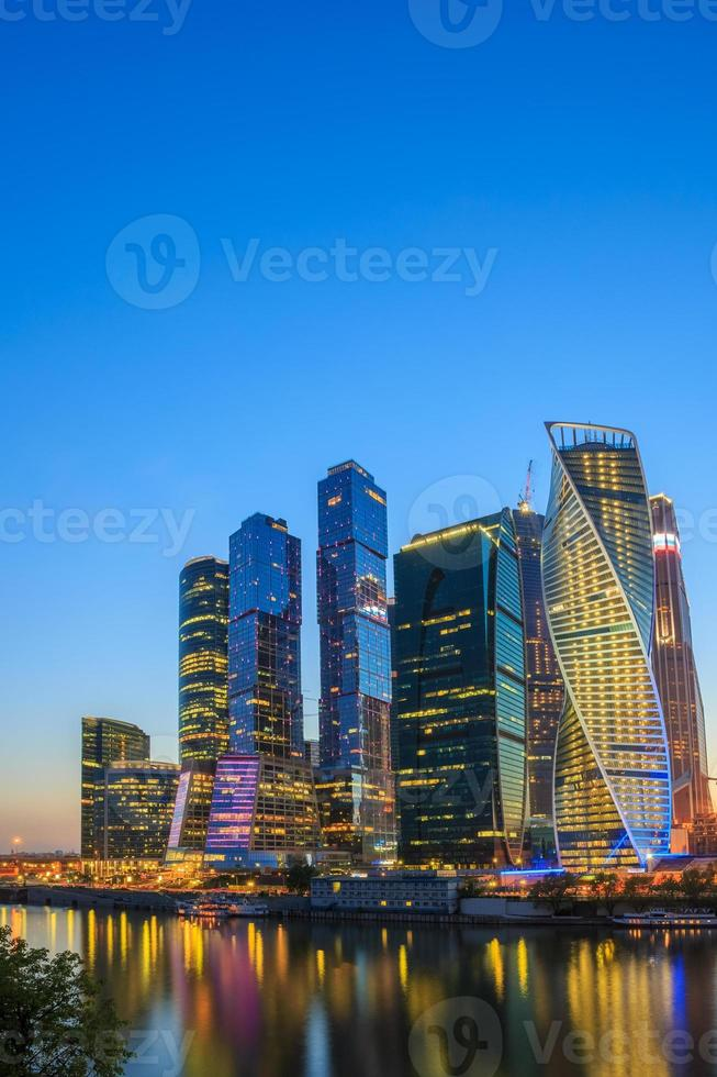 Buildings Of Moscow City Complex Of Skyscrapers At Evening, Russia photo