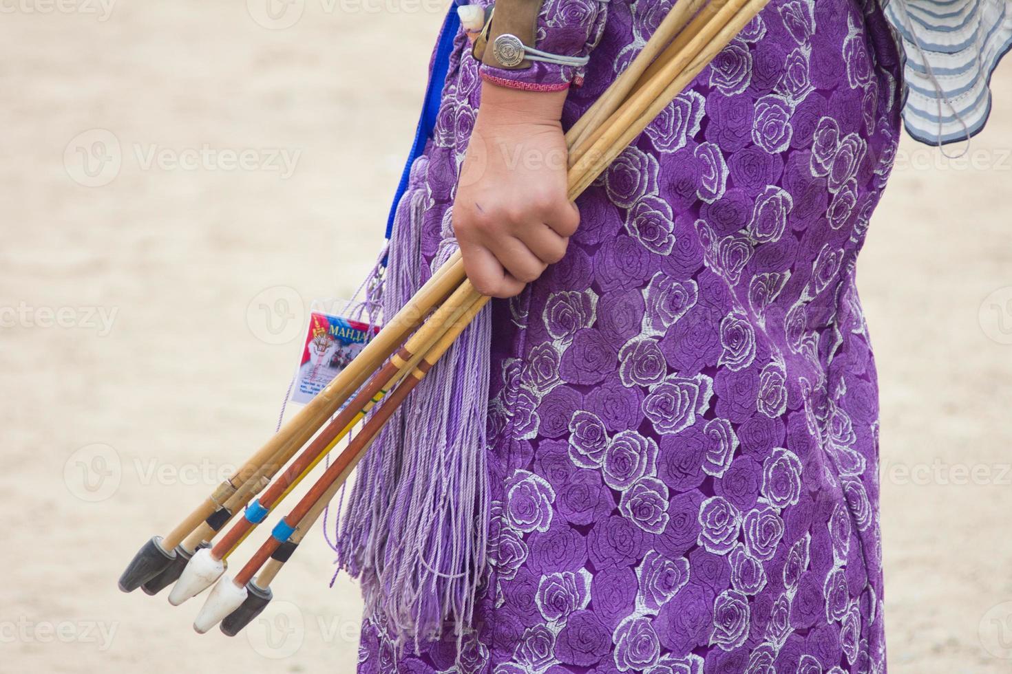 Mongolian female archer during Naadam games photo