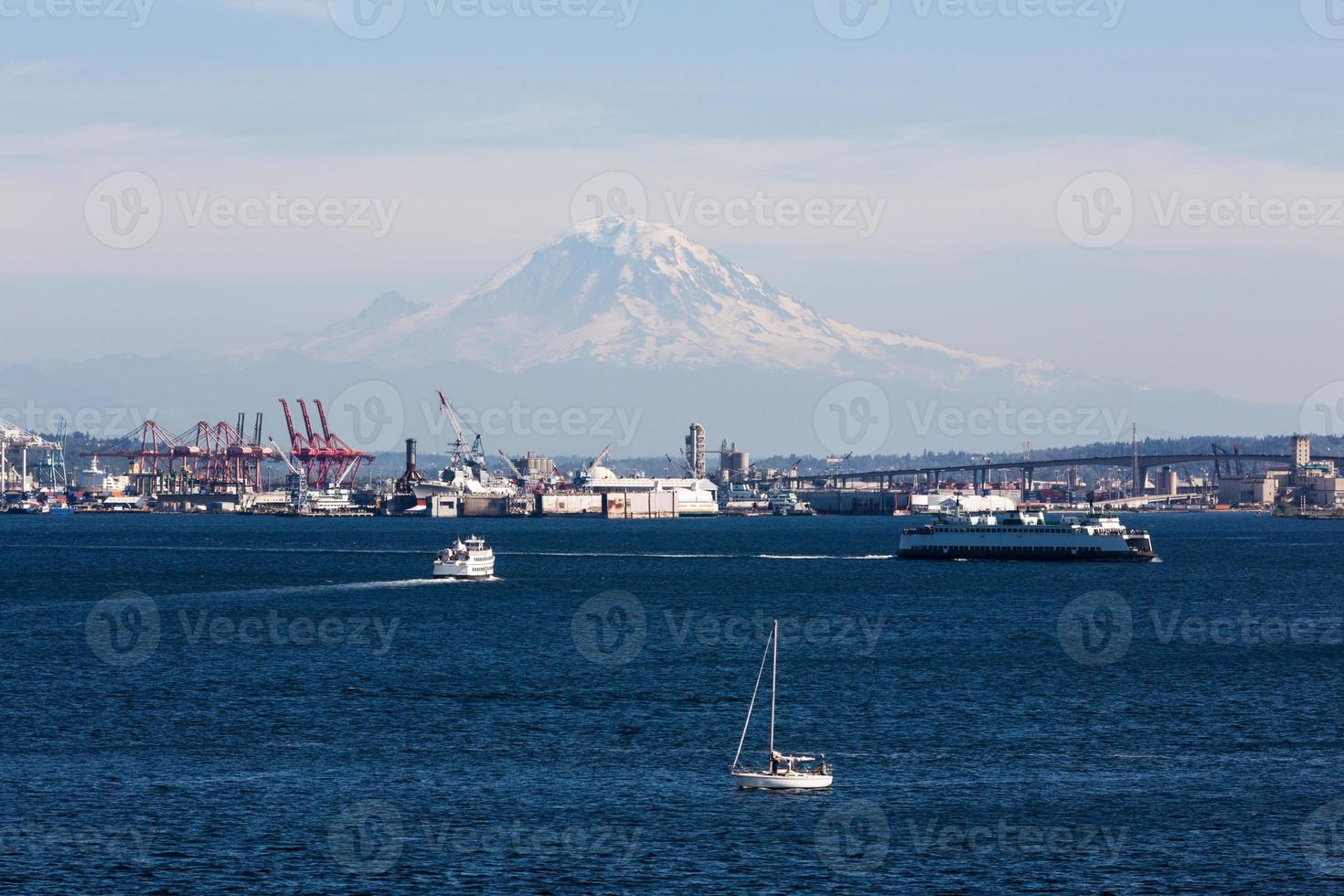 Port of Seattle with Mt.Rainier photo