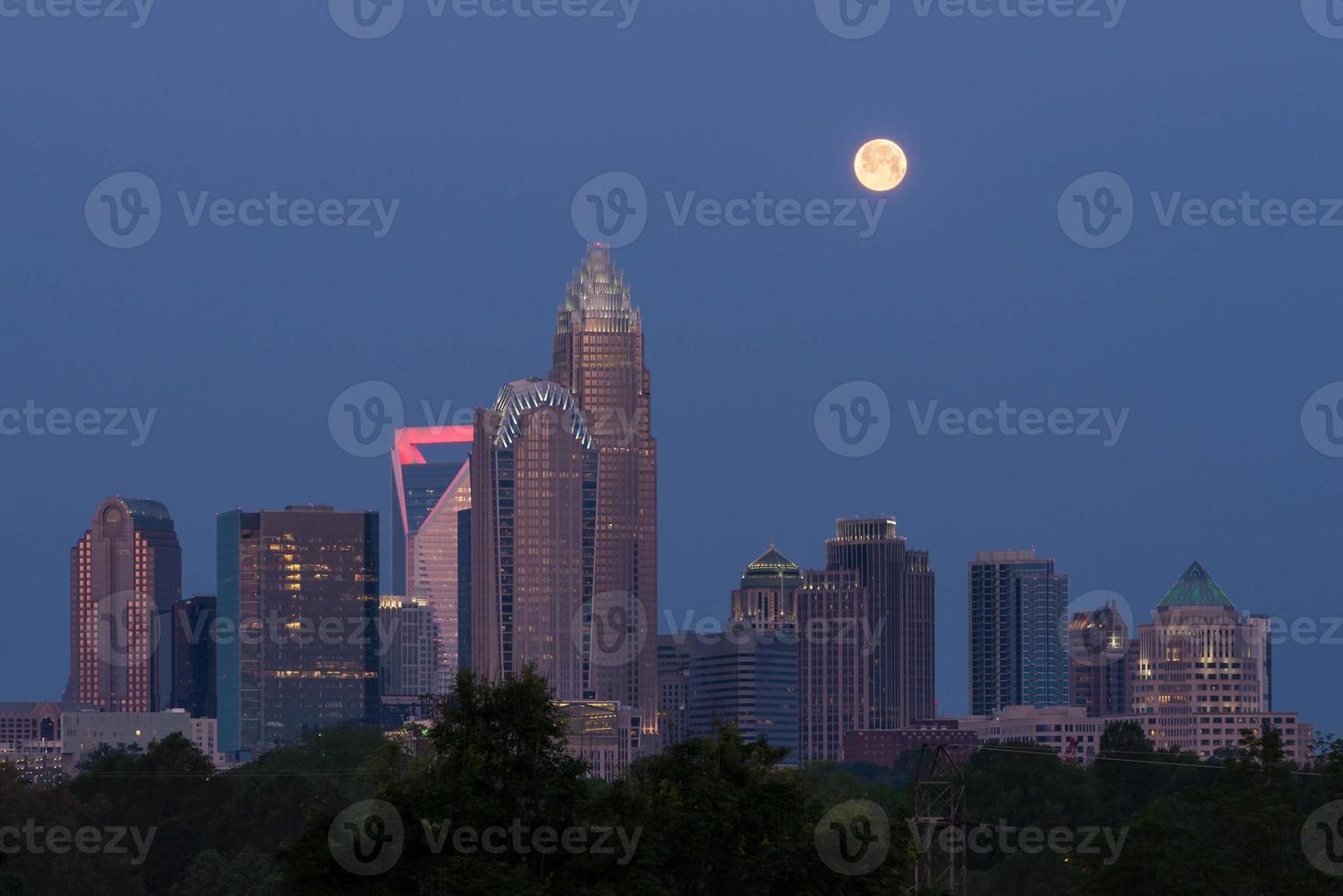 Full moon over Charlotte, North Carolina photo