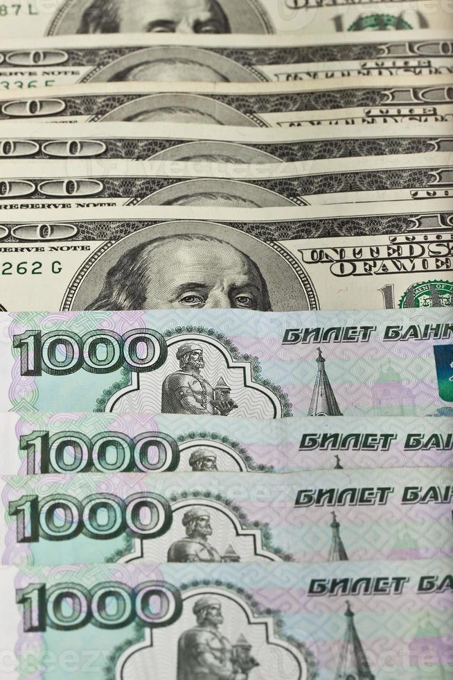 US and Russian banknotes photo