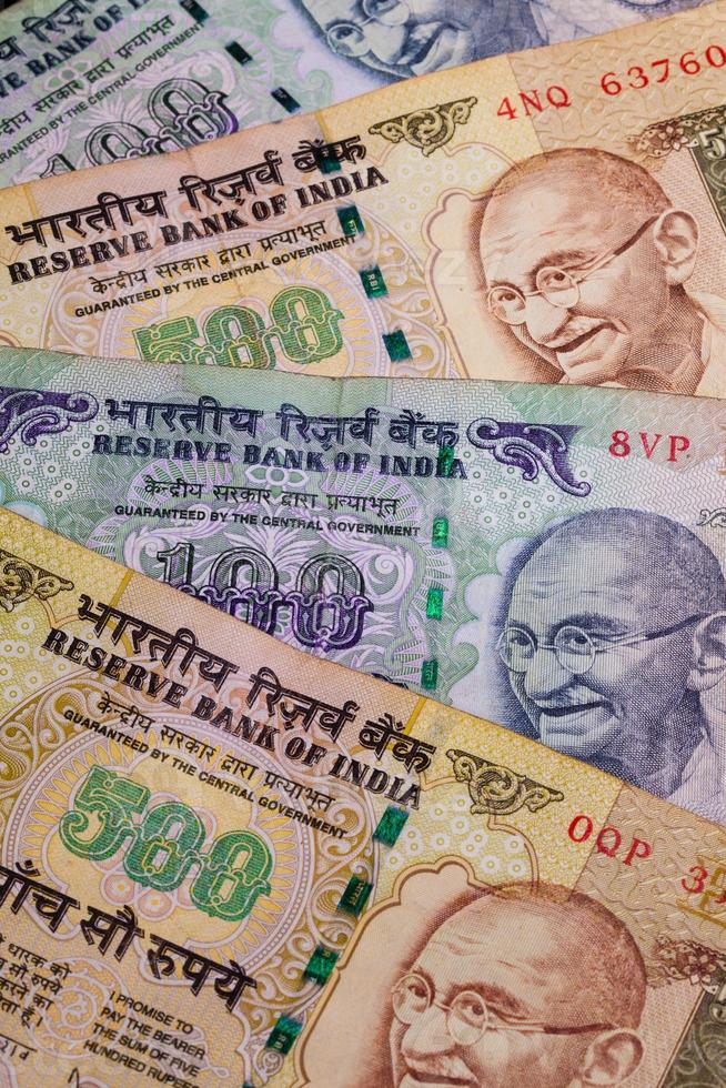 Different banknotes from India photo