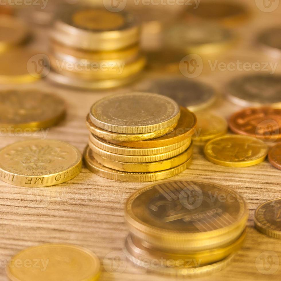 Old Stacked coins photo