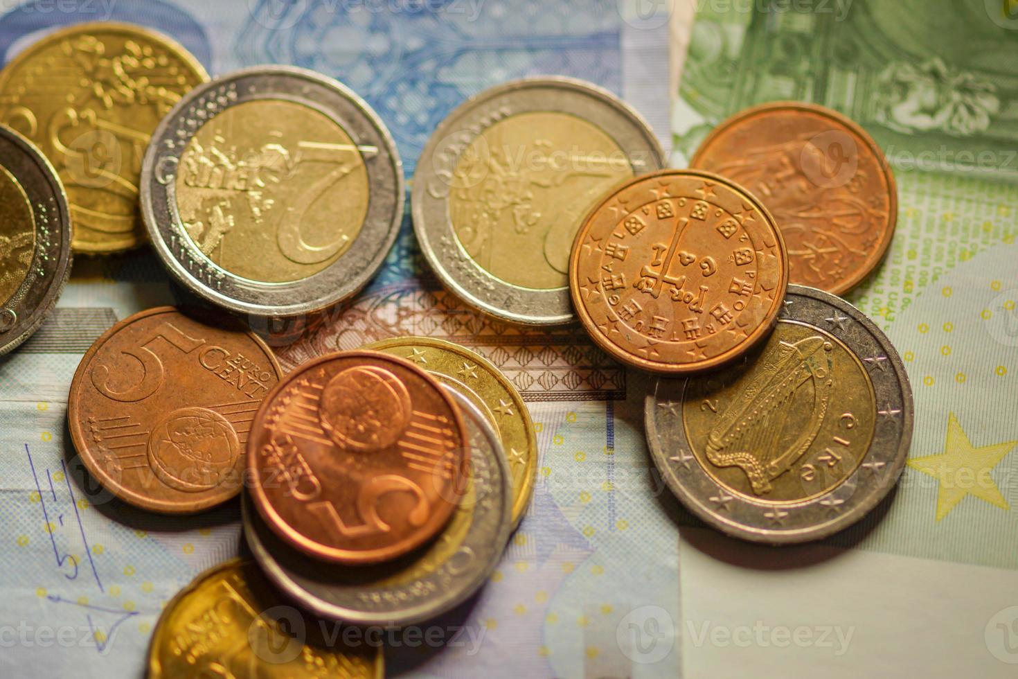 Euro coins and banknotes money. photo