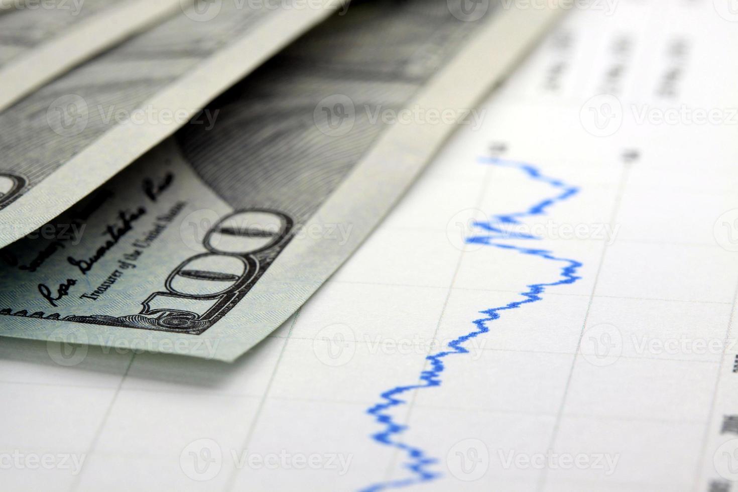 gráfica financiera con moneda estadounidense foto