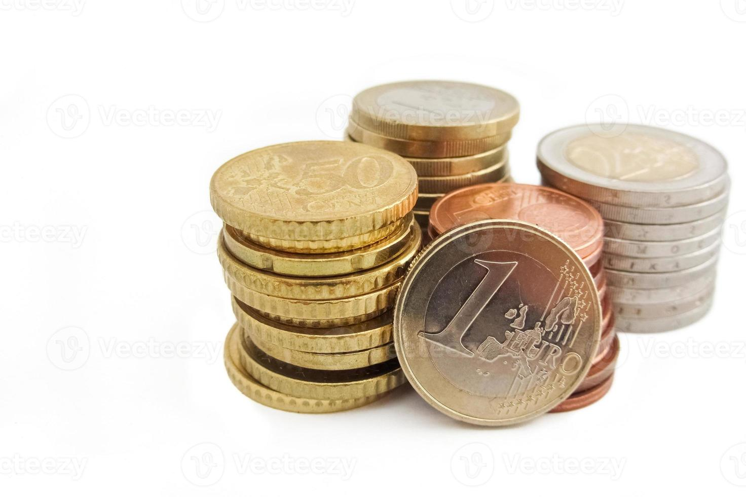Stack of European Euro coins in whithe background photo