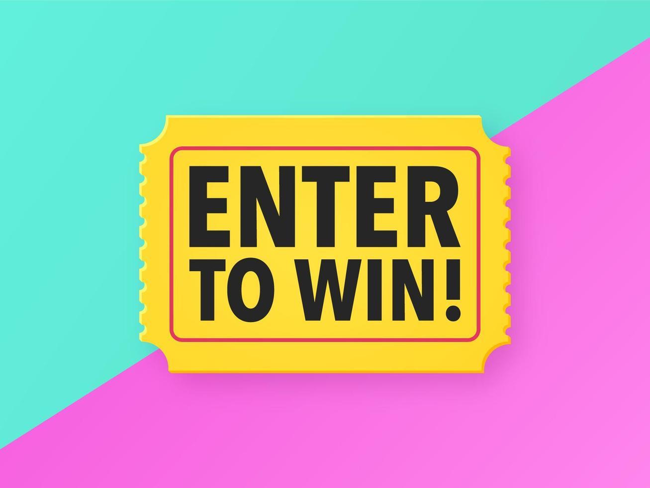 Enter To Win Ticket Pop Background vector