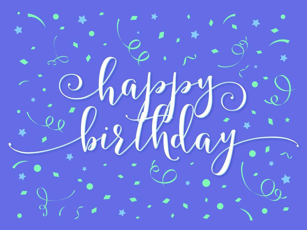 feliz cumpleaños letras a mano vector