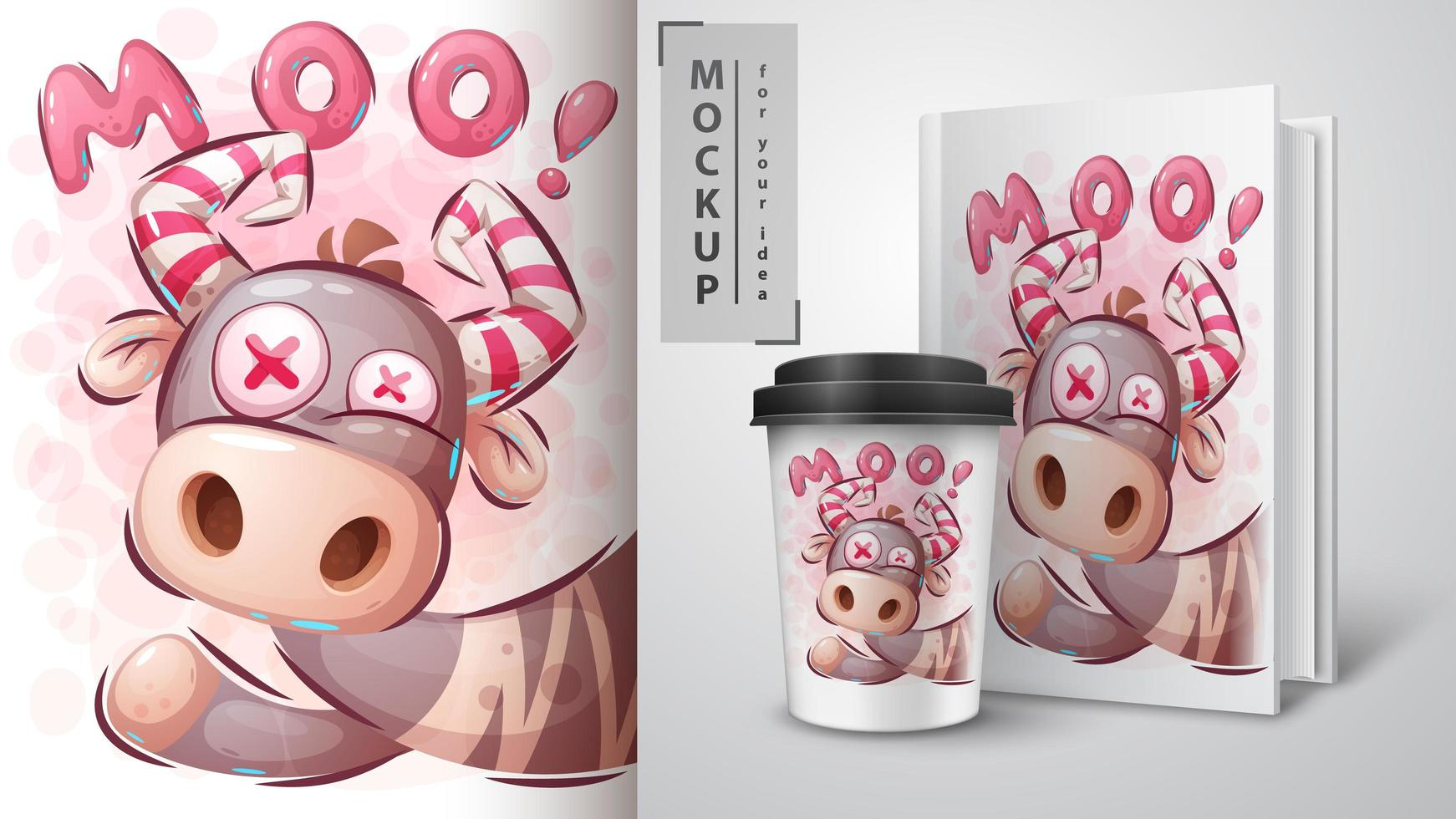 Crazy Mooing Cow Poster vector