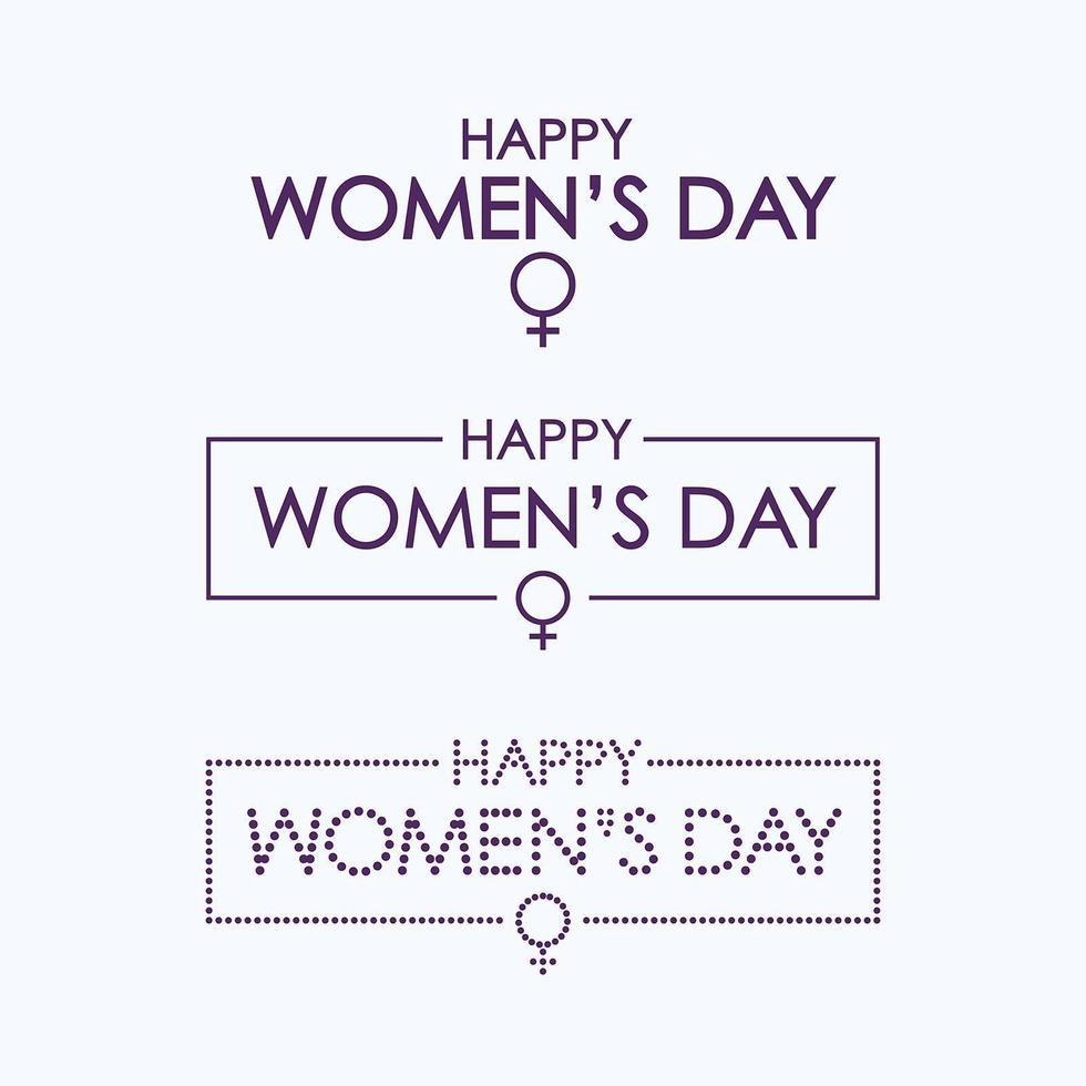 conjunto de letras feliz día de la mujer vector