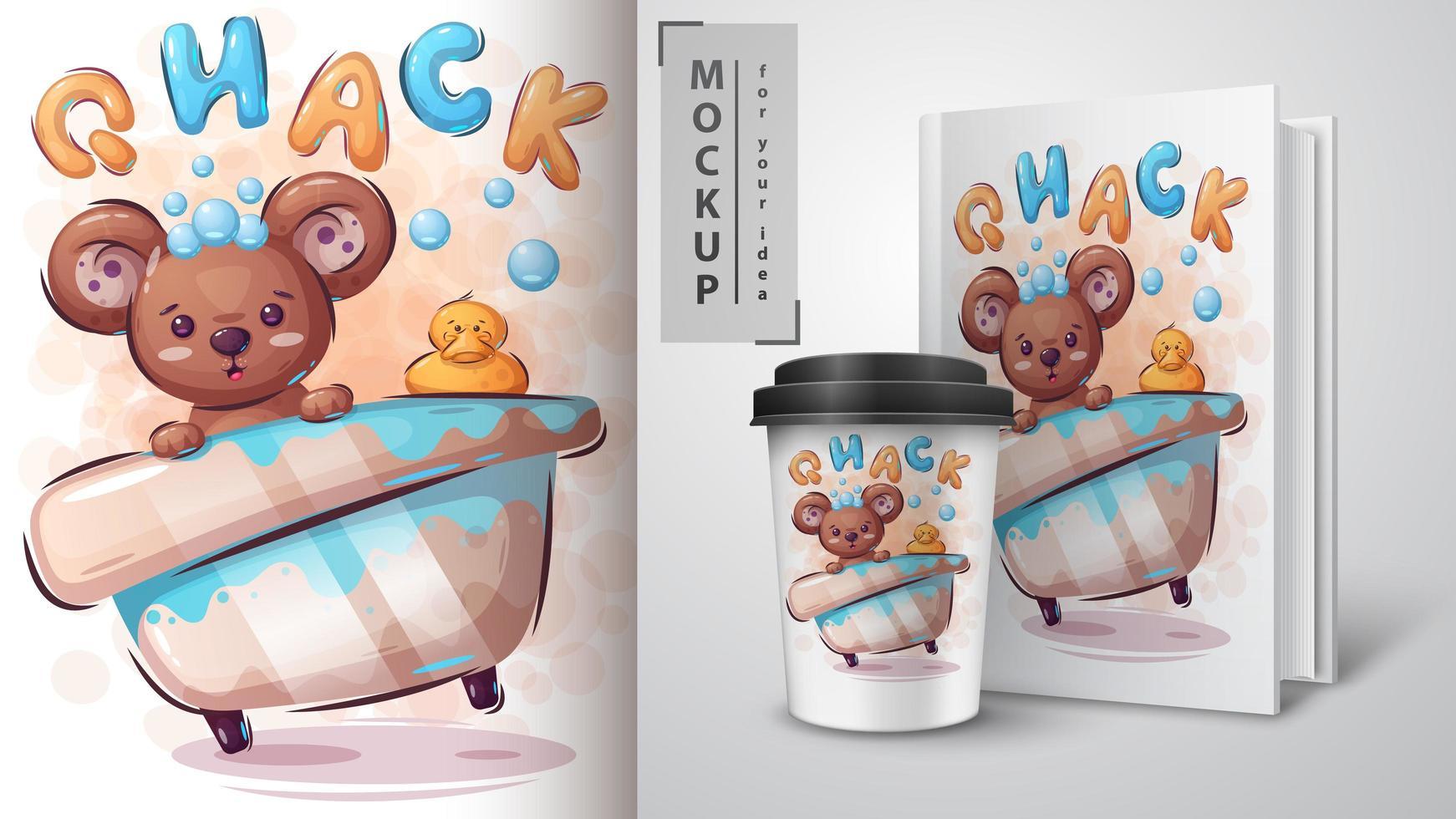 cartel de oso y pato de goma vector