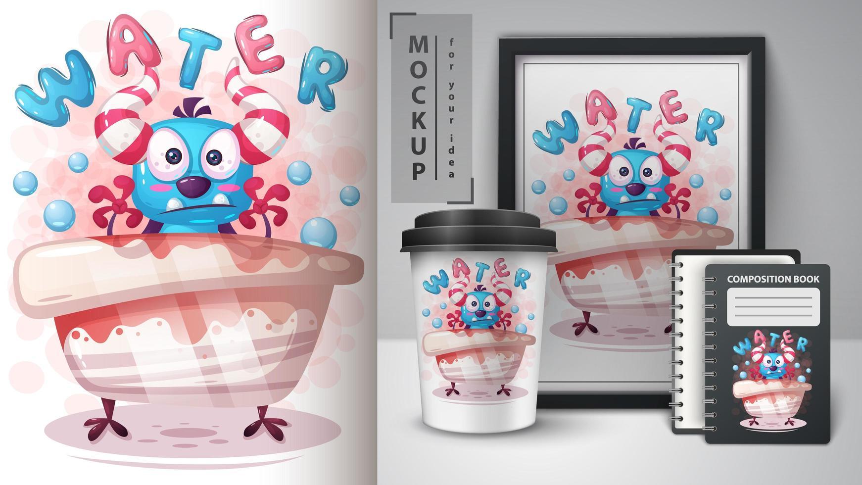 Water Monster in Bath Poster vector