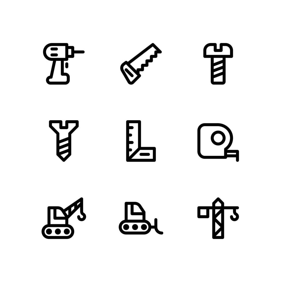 Construction Line Icons Including Drill, Saw and More vector