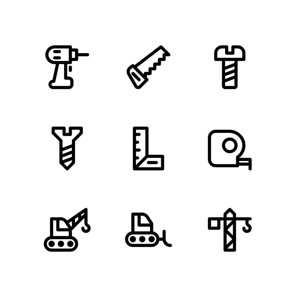 konstruktionslinjeikoner inklusive borr, såg och mer vektor