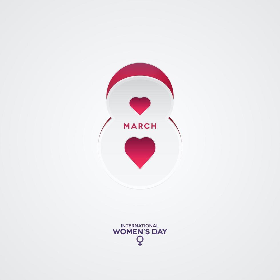 8 de marzo icono de corte de papel con cartel de formas de corazón vector
