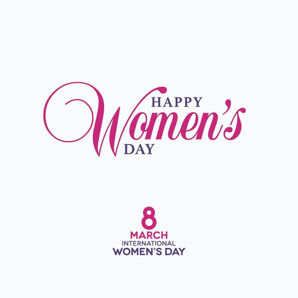 March 8th Happy Women's Day Calligraphic Lettering Design vector