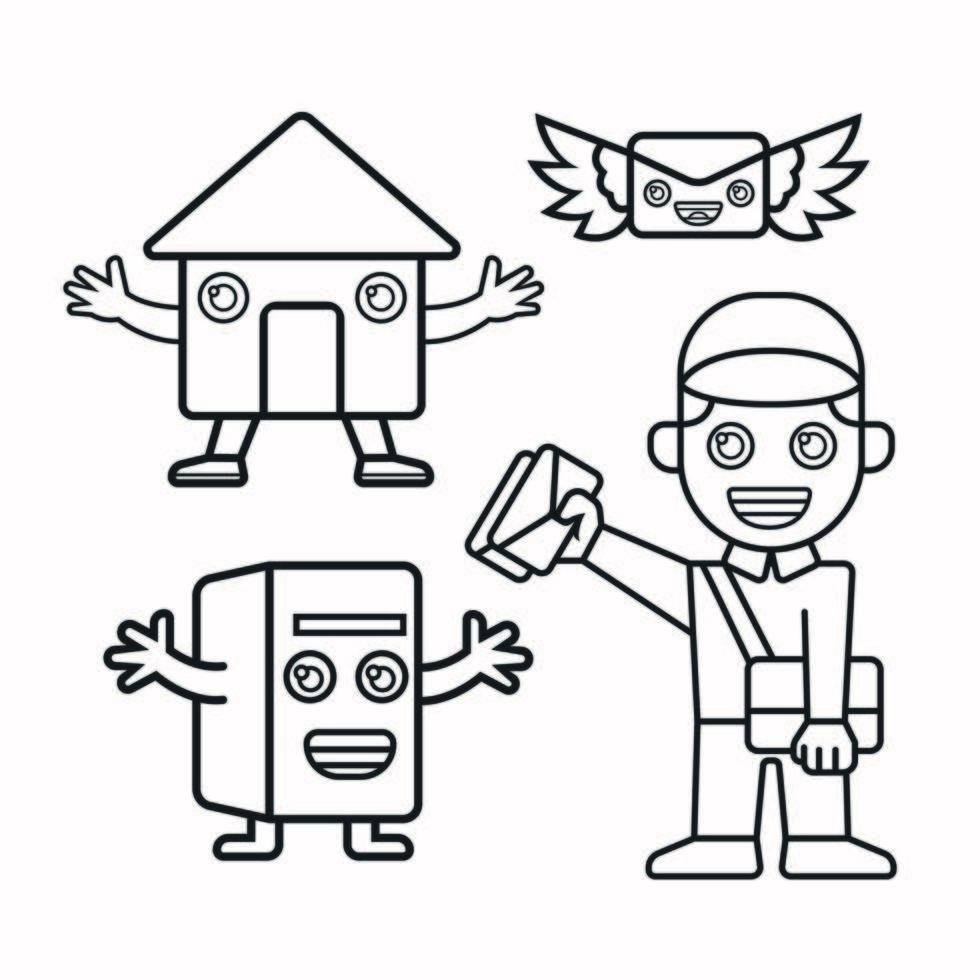 cartero, buzón, oficina de correos, correo con alas vector