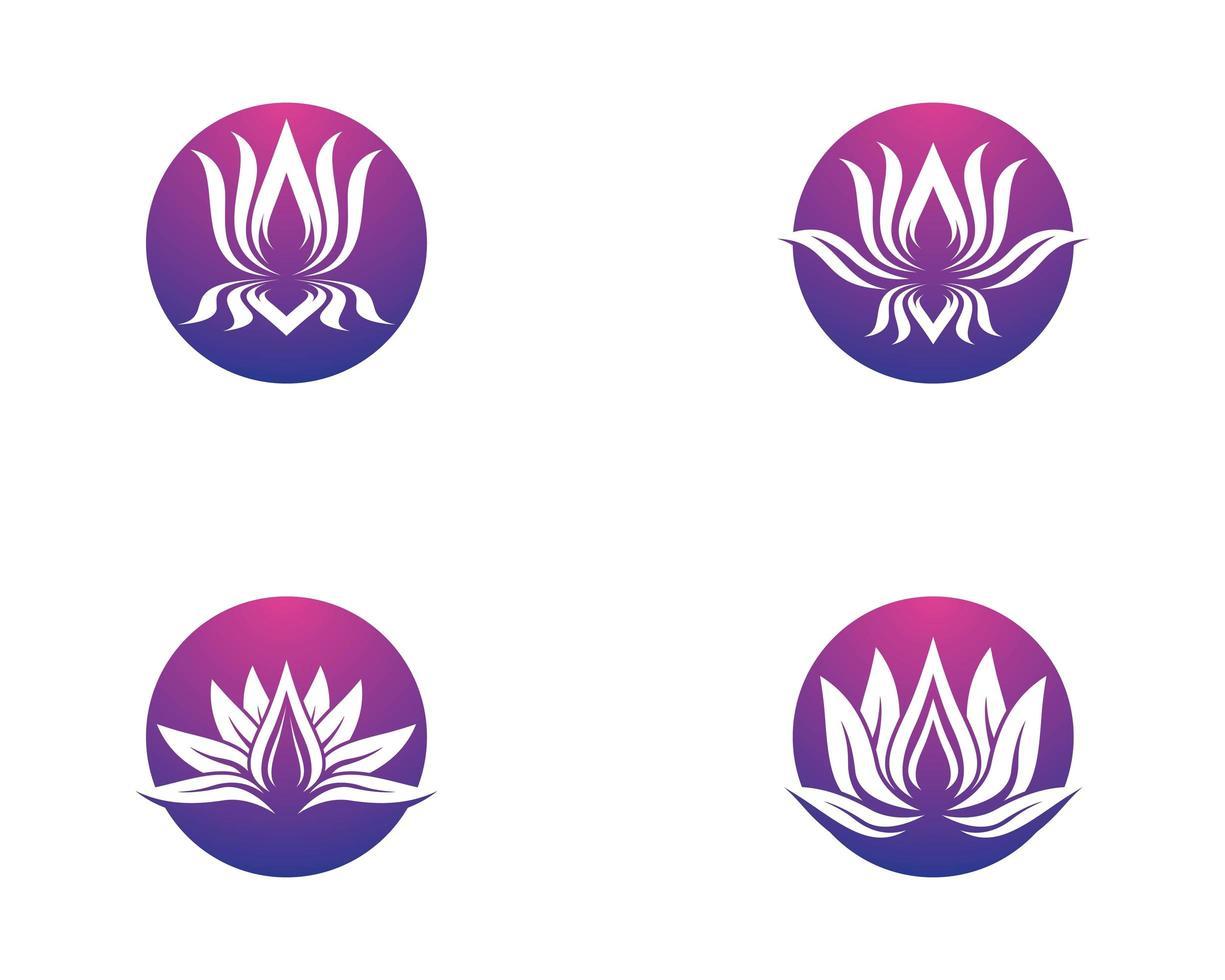 conjunto circular de símbolo de loto vector
