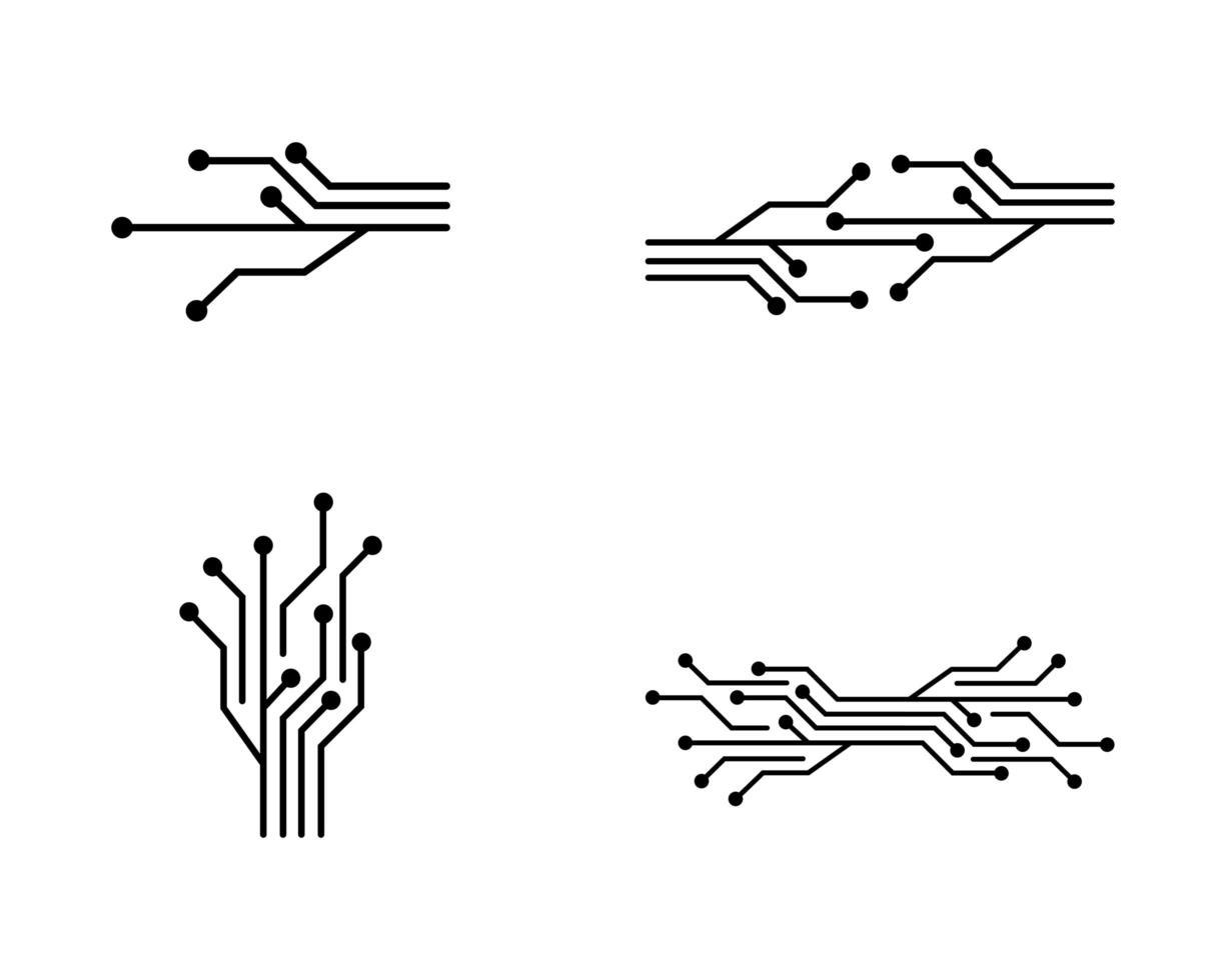 pacchetto di icone simbolo circuito nero vettore