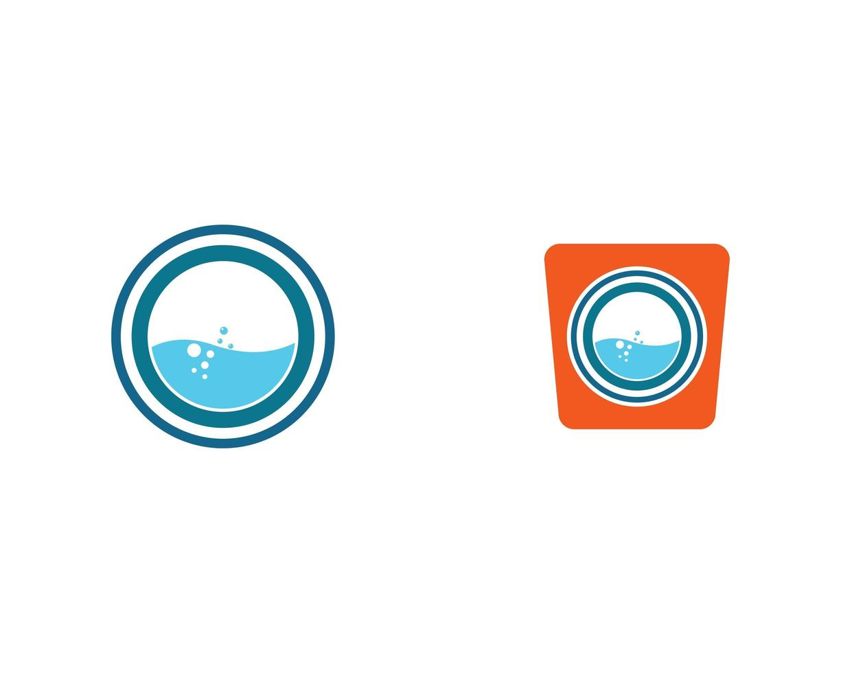conjunto de iconos de lavandería moderna vector