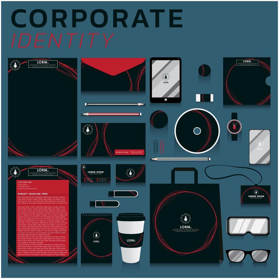Identidad corporativa de círculos rojos establecida para negocios y marketing vector