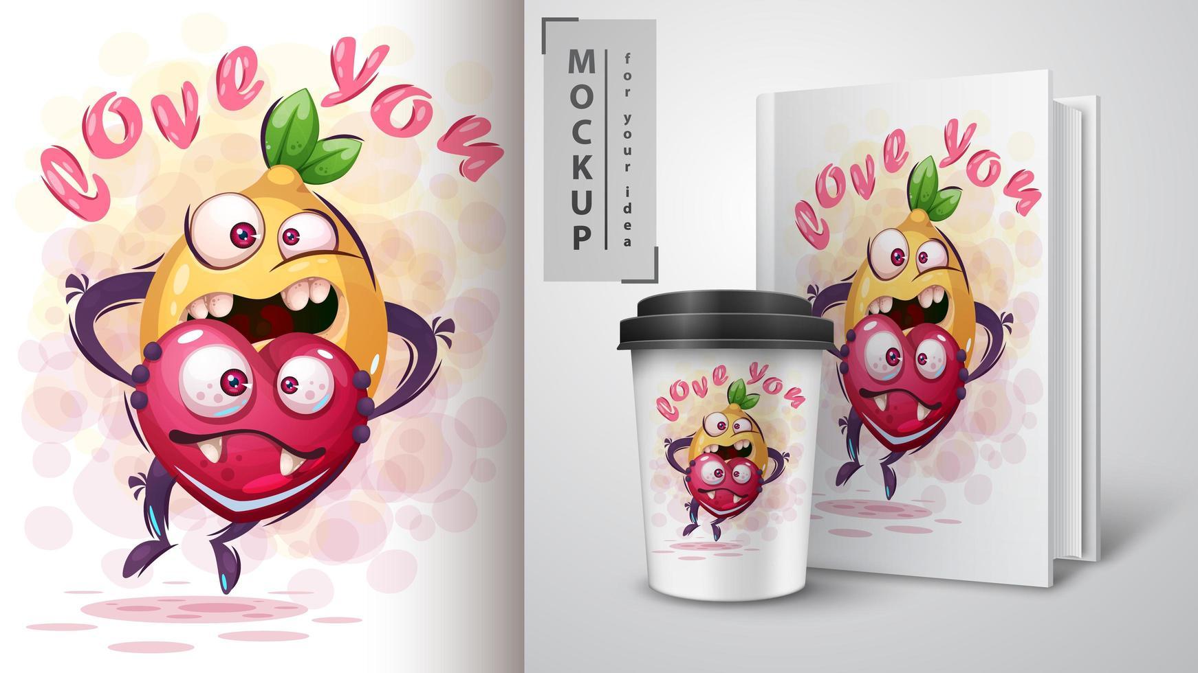 Lemon Holding Heart Love You Poster vector