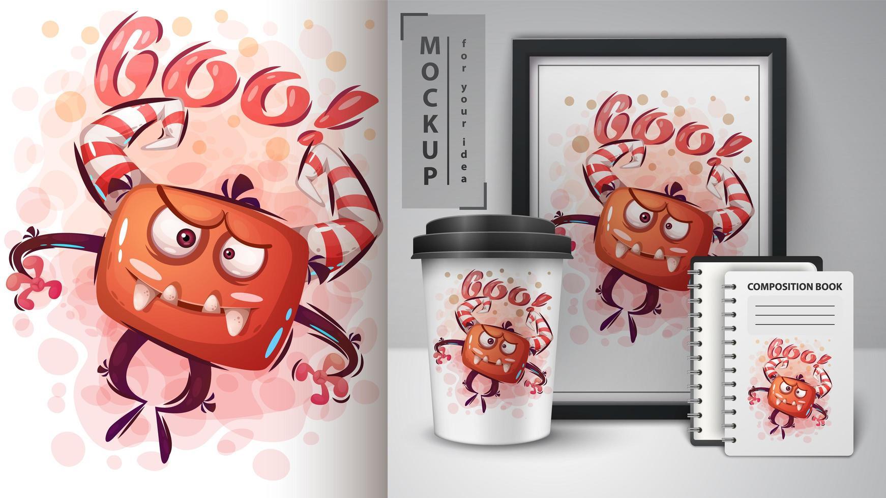 Crazy Boo Monster Poster  vector