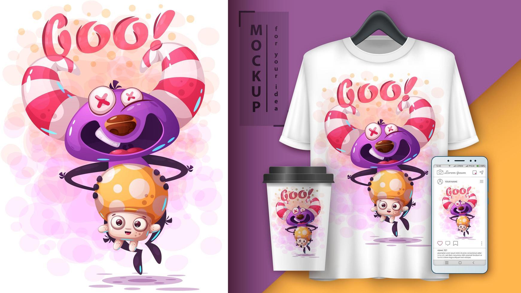 Cartoon Monster Holding Cute Mushroom Poster  vector
