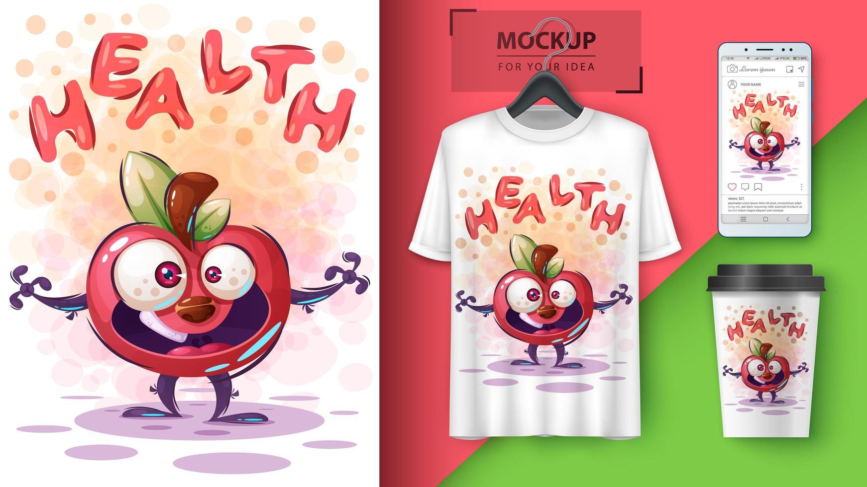 cartaz de maçã de saúde dos desenhos animados vetor