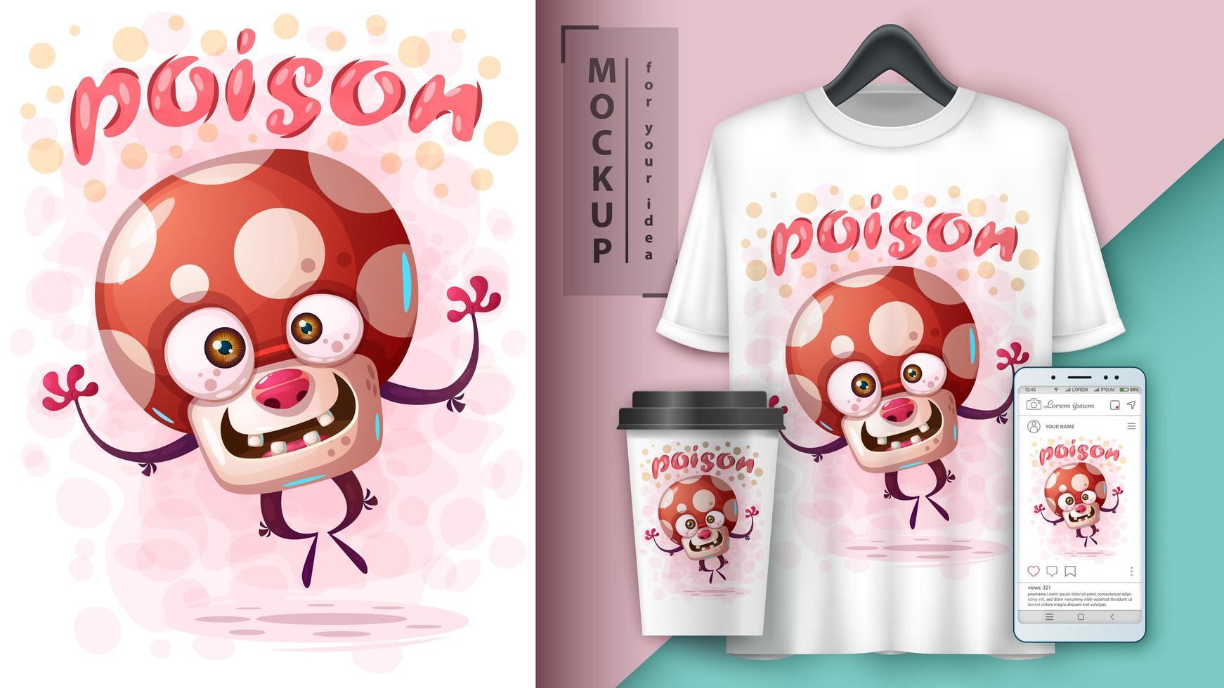 affiche de champignon poison sautant de dessin animé vecteur