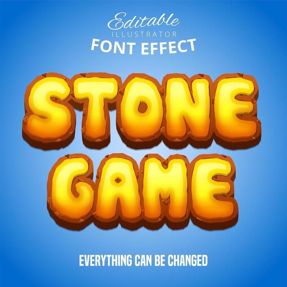 texto de juego de piedra, efecto de fuente editable vector