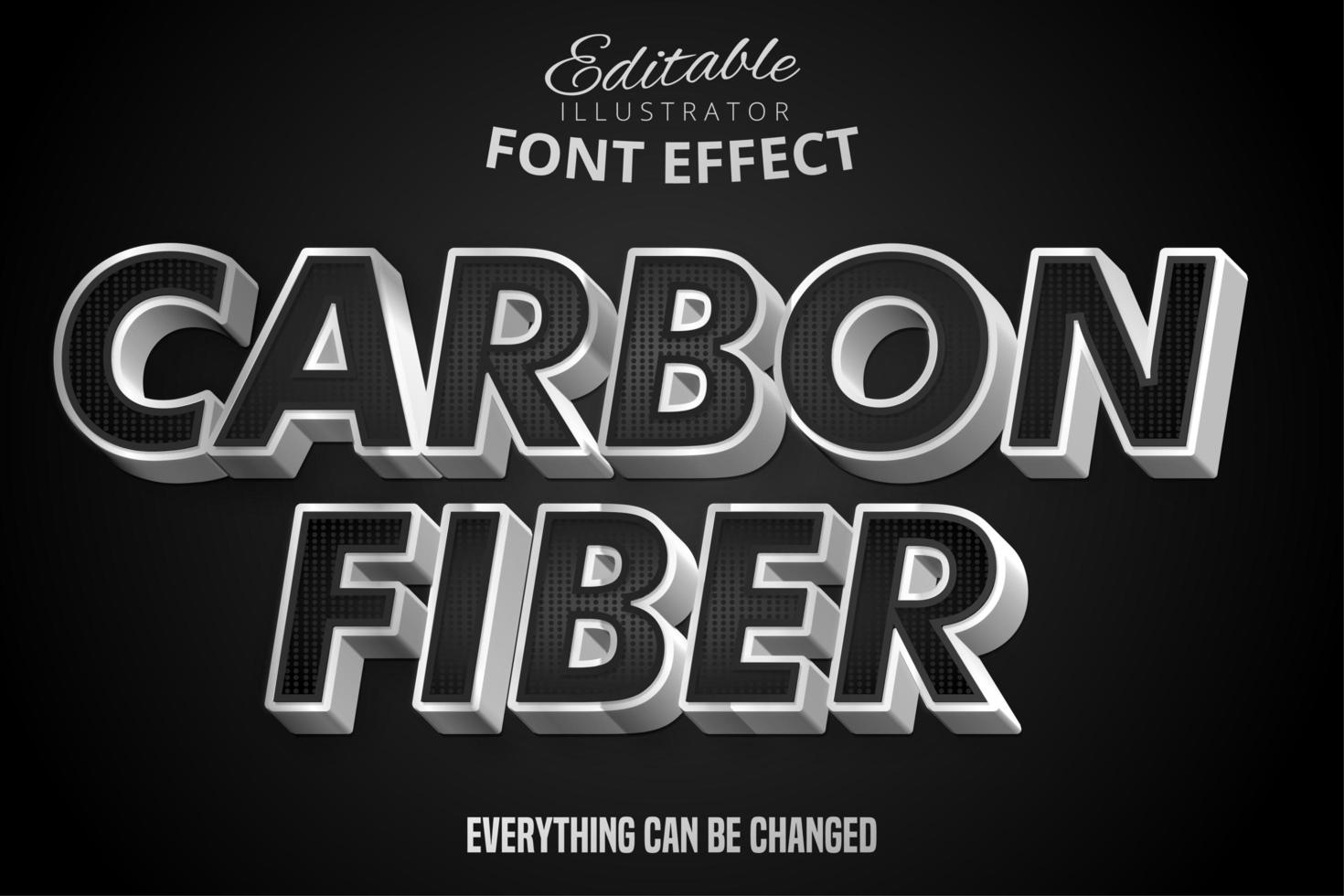 Metallic Silver and Black Pattern Text Effect vector