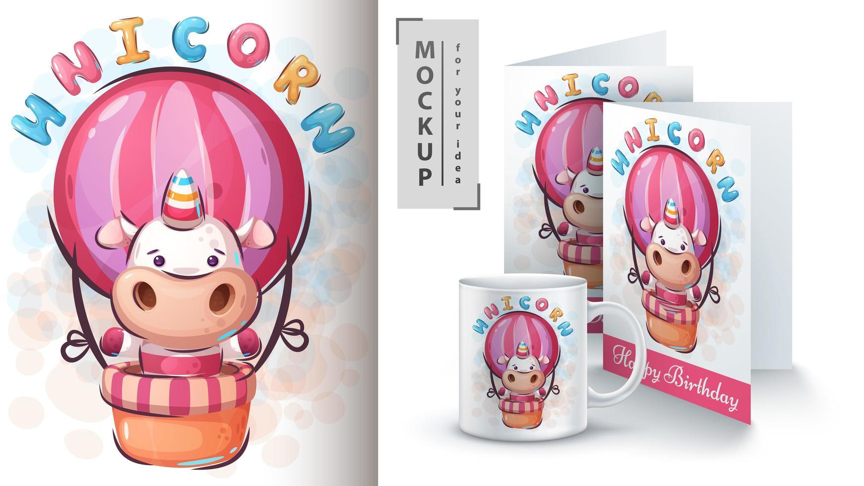 Unicornio mágico en cartel de globo de aire caliente vector