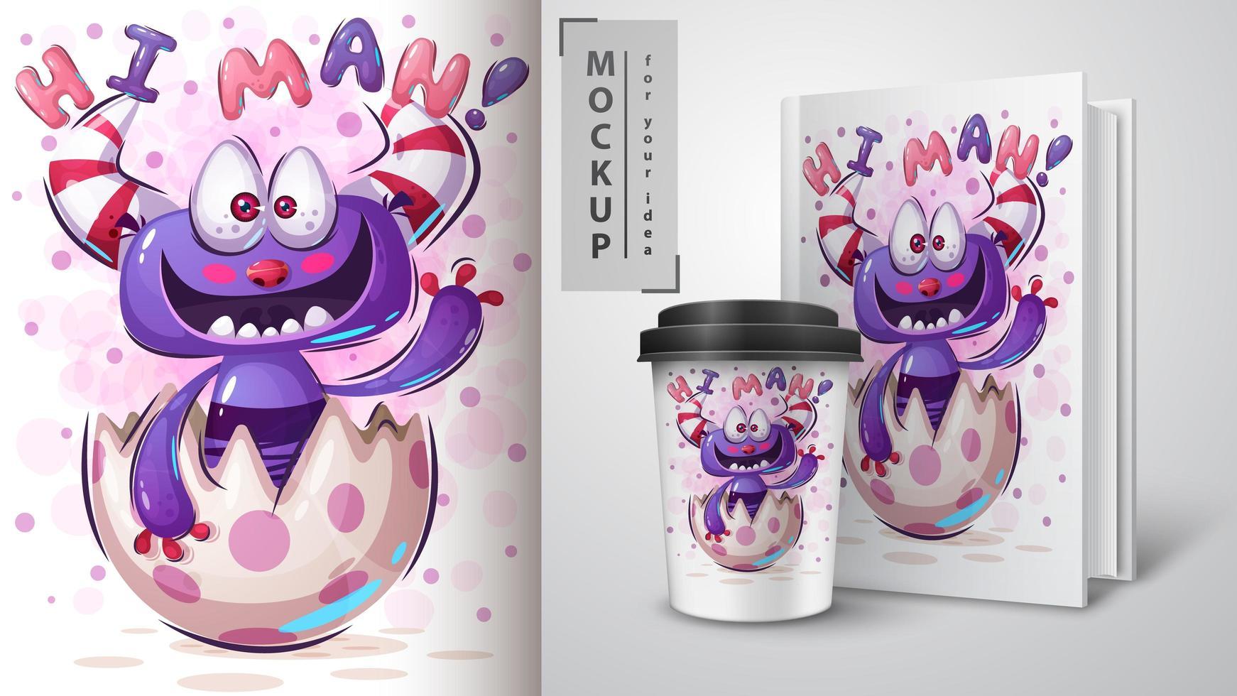 boo monster hallo man poster vector