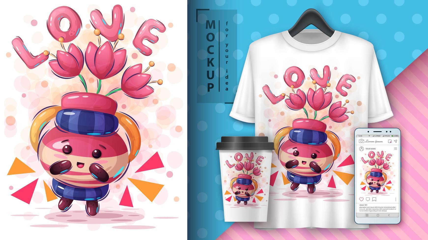 manifesto di amore del vaso di fiori del fumetto vettore