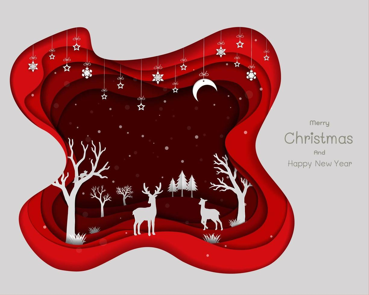 diseño de arte en papel con familia de ciervos y copos de nieve vector