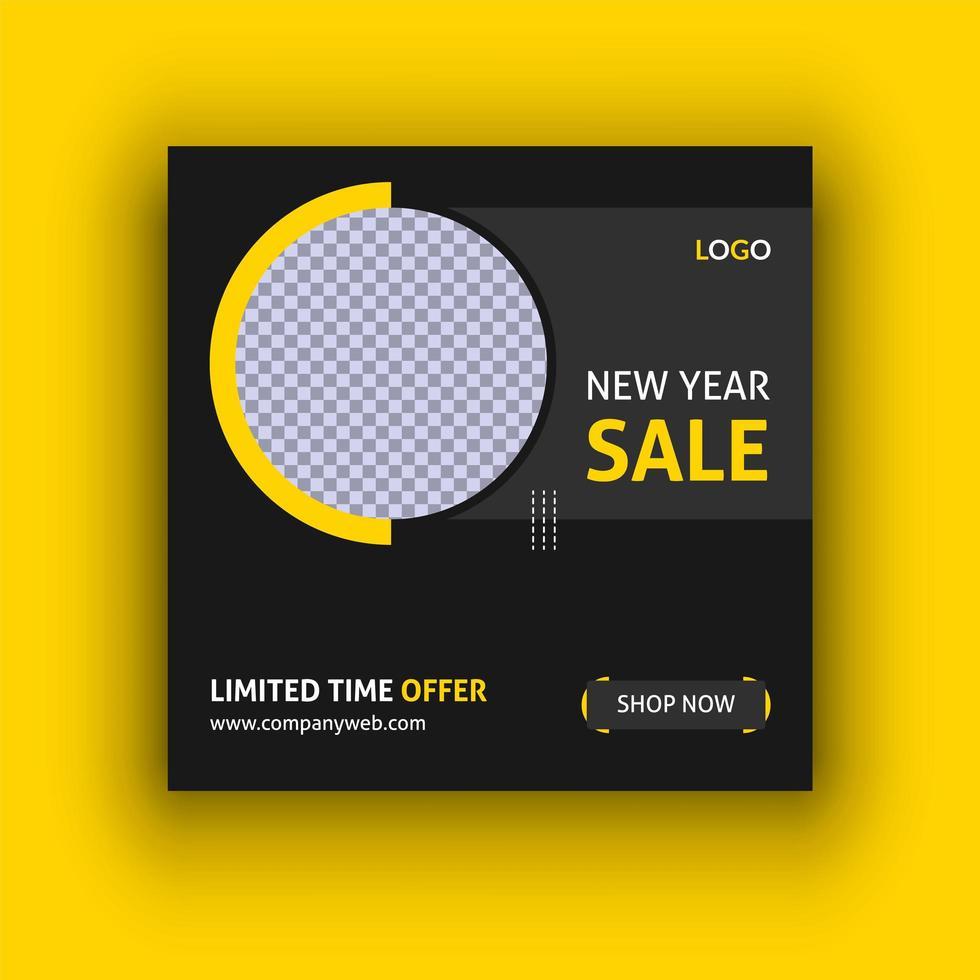 plantilla de publicación de redes sociales de venta de año nuevo vector