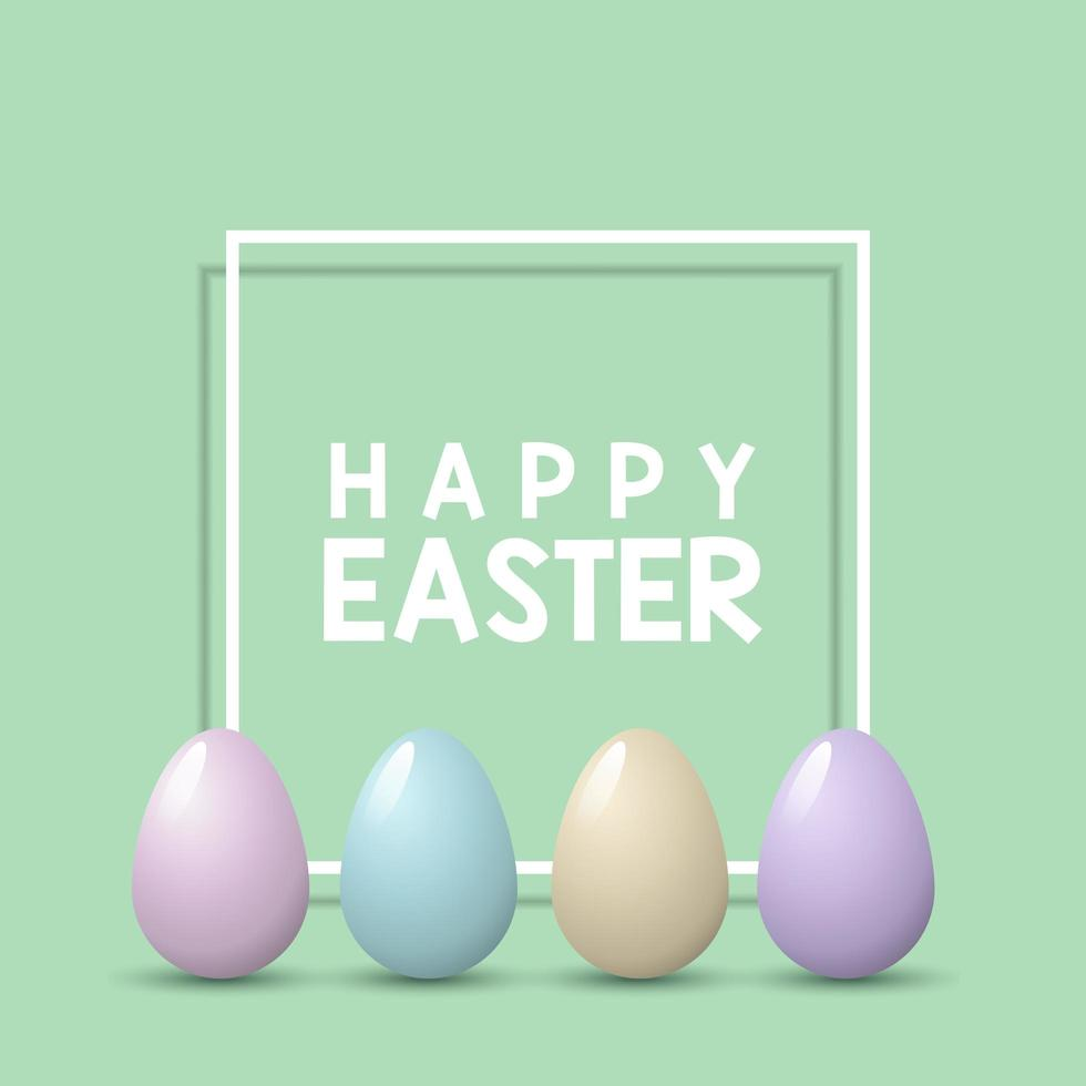 Easter Background with Pastel Eggs on White Frame vector