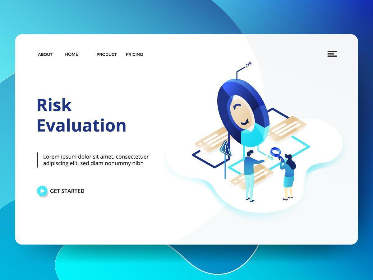 plantilla de sitio web de evaluación de riesgos vector