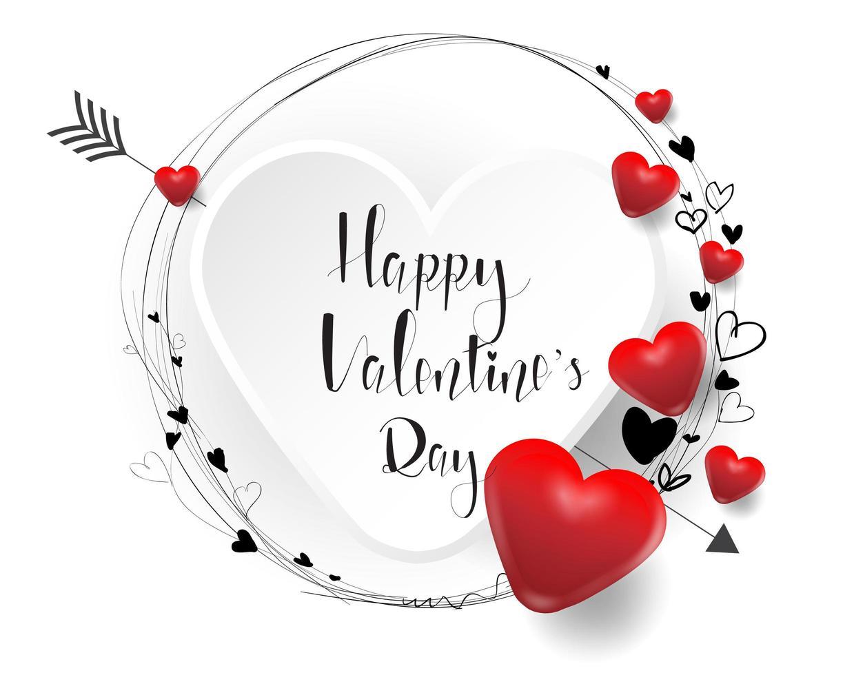 feliz día de san valentín fondo con corazones 3d vector